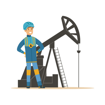 Smiling oilman standing next to an oil rig drilling platform, oil industry extraction and refinery production vector Illustration