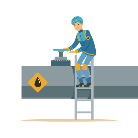 Oilman working on an oil pipeline, transportation of oil and petrol vector illustration
