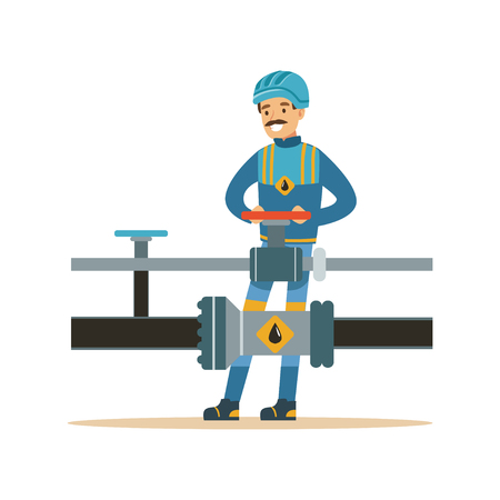 Smiling oilman working on an oil pipeline, transportation of oil and petrol vector illustration Иллюстрация