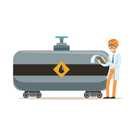 Engineer of oil industry controlling the process of oil transportation vector illustration