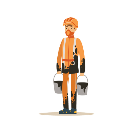 Oilman in orange stained uniform standing with buckets full of oil, oil industry extraction and refinery production vector Illustration Иллюстрация