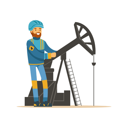 drill: Oilman working on an oil rig drilling platform, oil industry extraction and refinery production vector Illustration