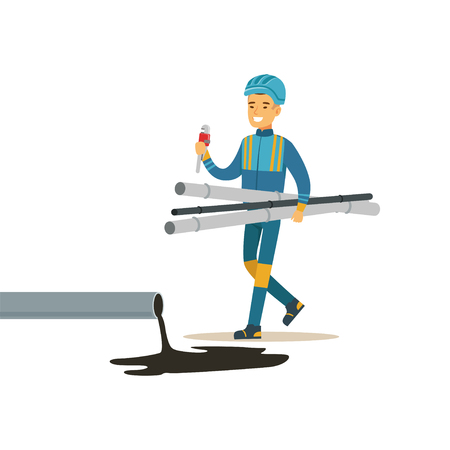 Builder worker repairing industrial oil pipeline, oil industry extraction and refinery production vector Illustration