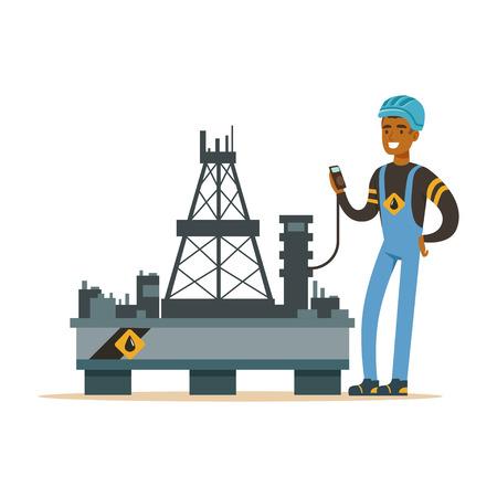 Oilman inspecciona el equipo en una plataforma de perforación de la plataforma petrolera, extracción de la industria del petróleo y el vector de producción de refinería Ilustración Foto de archivo - 84002751