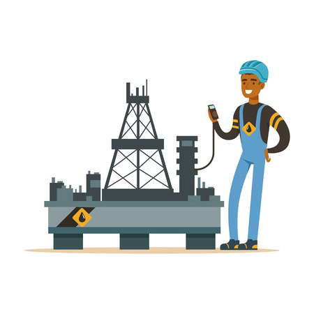 Oilman inspecting equipment on an oil rig drilling platform, oil industry extraction and refinery production vector Illustration