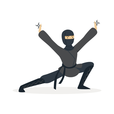 Ninja assassin character in a full black costume standing in a combat pose and holding shurikens in his hands, Japanese martial art vector Illustration