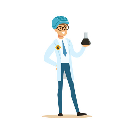 Chemical engineer working on oil samples, oil refinery production vector illustration
