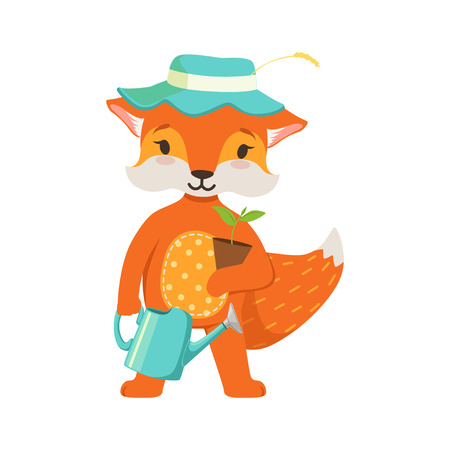 Cute orange fox gardener character, funny cartoon forest animal posing with watering can and flower pot vector Illustration