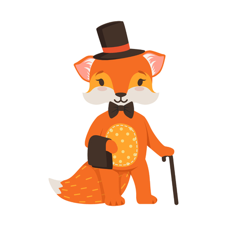 Cute orange fox gentleman character, funny cartoon forest animal posing in a black hat and cane vector Illustration Illustration