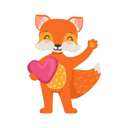Cute orange fox character standing and holding pink heart, funny cartoon forest animal posing vector Illustration Illustration