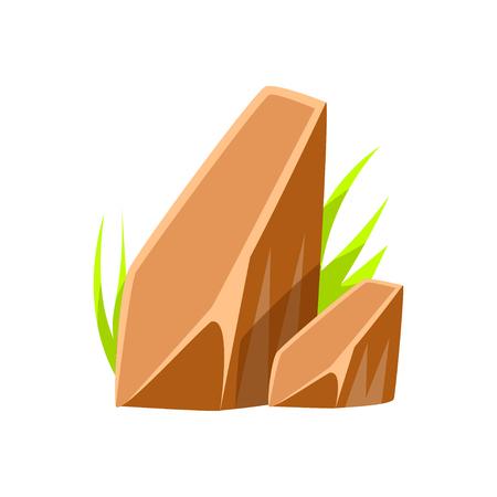 茶色の滑らかなミネラル石自然の岩のベクトル イラスト  イラスト・ベクター素材