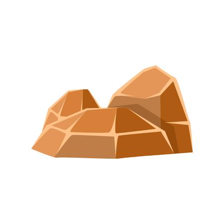 茶色の鉱物石、自然の岩のベクトル イラスト