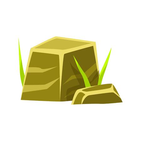 Gladde vierkante stenen, rotsen in natuurlijke omgeving vector illustratie
