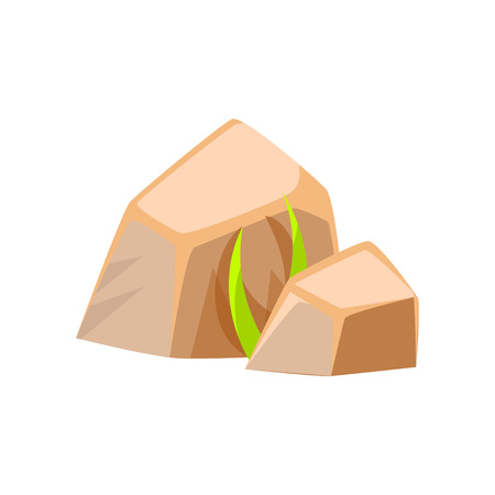 green environment: Mineral stones, rocks in natural environment vector Illustration
