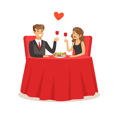 Happy elegant couple sitting in a cafe, man and woman holding glasses of red wine enjoying romantic dinner date colorful characters vector Illustration Illustration
