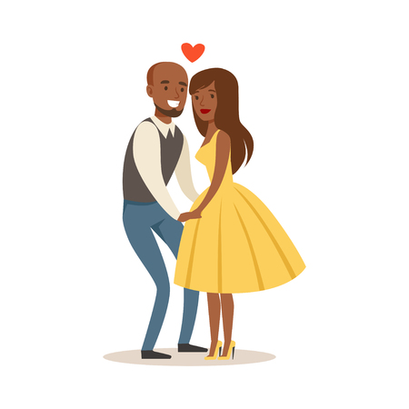 Happy couple in love holding hands colorful characters vector Illustration Иллюстрация
