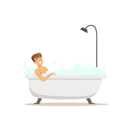 Smiling man character taking bath in bubble bathtub, relaxing colorful character vector Illustration Ilustrace