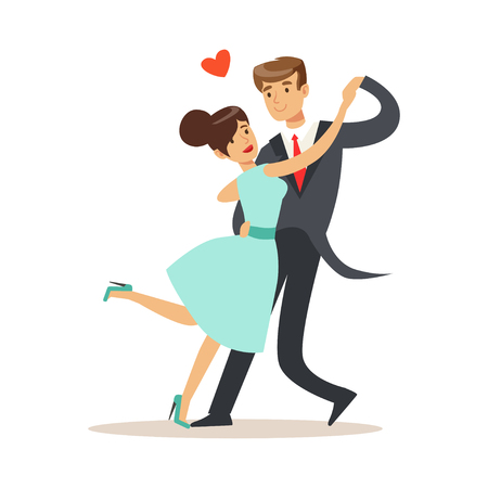 Elegant couple in love dancing together in classical repertoire colorful characters vector Illustration