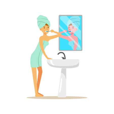 Beautiful woman character with towel on her head brushing teeth in a bathroom after bedtime vector Illustration