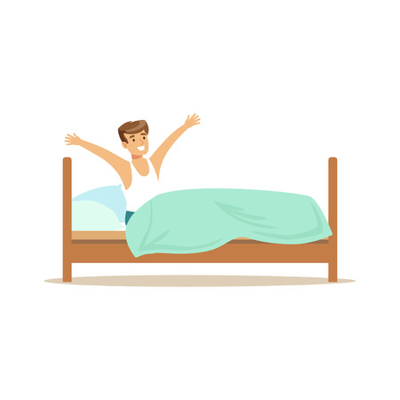Smiling man character waking up beginning a good day vector Illustration