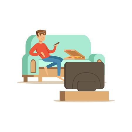 De zitting van het jonge mensenkarakter op een een bank en het letten op TV, mensen die thuis vectorillustratie rusten