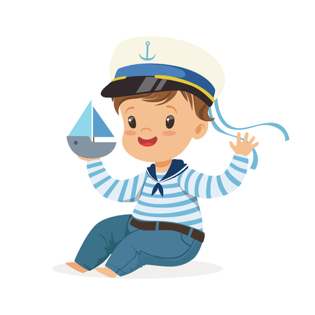 Cute smiling little boy character wearing a sailors costume sitting on the floor playing toy boat colorful vector Illustration