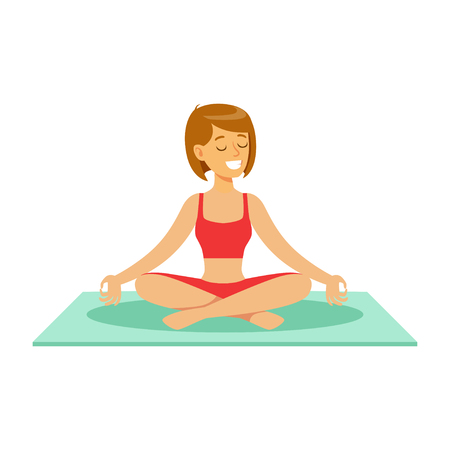 Beautiful young woman character sitting and meditating in the yoga lotus position vector Illustration