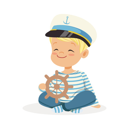 Cute smiling little boy character wearing a sailors costume sitting on the floor playing toy wooden ship wheel colorful vector Illustration Vettoriali