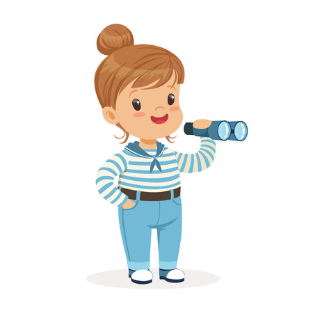 Beautiful little girl character wearing a sailors costume playing toy spyglass colorful vector Illustration