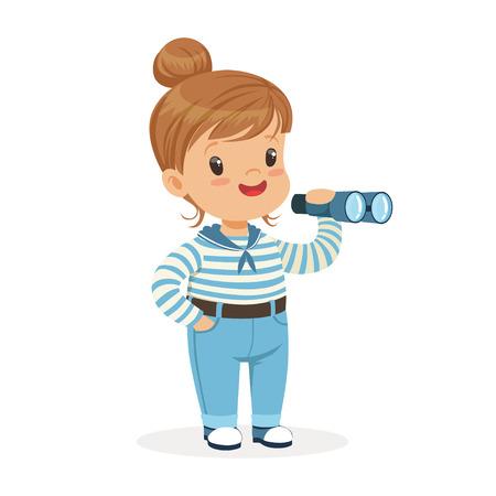 Schöne kleine Mädchen Charakter tragen ein Matrosen Kostüm spielen Spielzeug Spyglass bunten Vektor Illustration Standard-Bild - 84080380