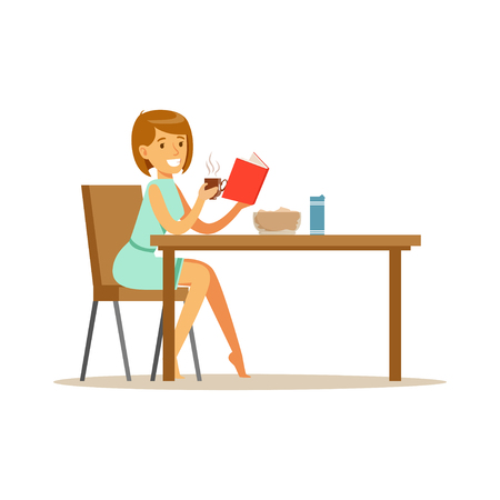 Beautiful young woman character reading bok while having breakfast vector Illustration