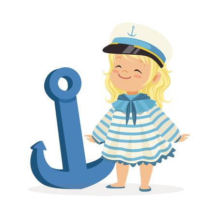 Het mooie karakter die van het blondemeisje een zeeliedenkostuum dragen die zich naast een blauwe anker kleurrijke vectorillustratie bevinden