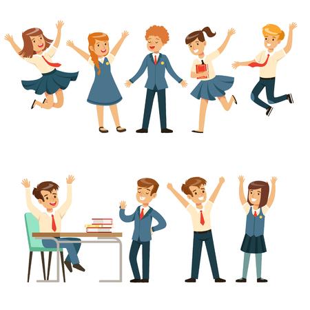 Leuke leerlingen in blauwe school uniform met plezier op school set, terug naar school, onderwijs concept kleurrijke vector Illustraties