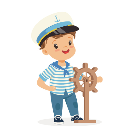 Cute smiling little boy character wearing a sailors costume holding steering wheel colorful vector Illustration