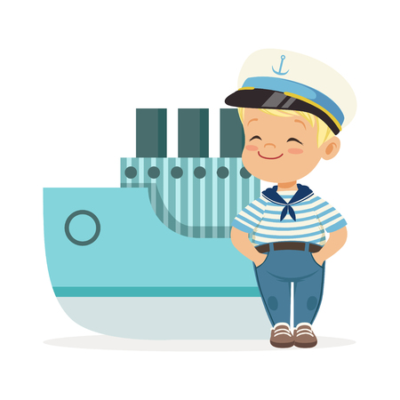 Cute smiling little boy character wearing a sailors costume standing next to a blue ship colorful vector Illustration