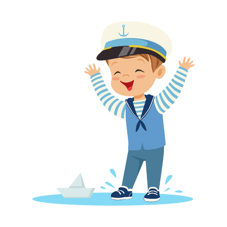 Cute smiling little boy character wearing a sailors costume standing in a puddle playing with paper boat colorful vector Illustration