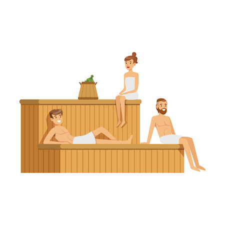 People wearing towels relaxing in sauna steam room, spa procedures colorful vector Illustration Illustration