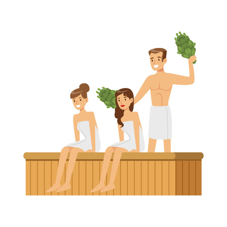 People wearing towels steaming with birch broom in sauna steam room, spa procedures colorful vector Illustration