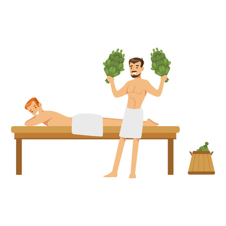 besom: Smiling man wearing towel massaging another man with birch broom in sauna steam room colorful vector Illustration