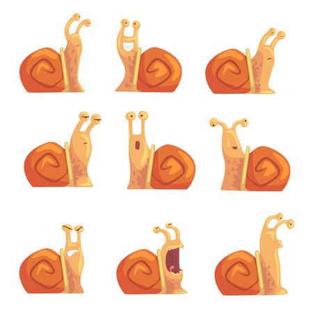 다른 감정을 보여주는 재미있는 만화 달팽이 설정, 귀여운 만화 달팽이 문자 벡터 일러스트 일러스트