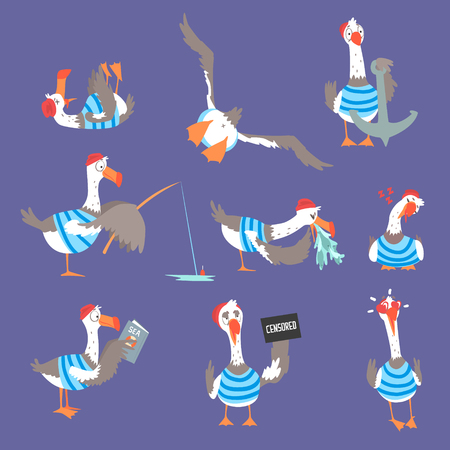 Cartoon seagulls with different poses and emotions set, cute comic bird characters Stock Illustratie