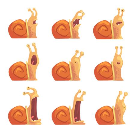 다른 감정 설정, 재미 있은 달팽이 문자를 보여주는 귀여운 만화 달팽이 벡터 일러스트 일러스트