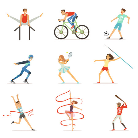 Men and women doing various kinds of sports, sport people colorful vector Illustrations Zdjęcie Seryjne - 84080400