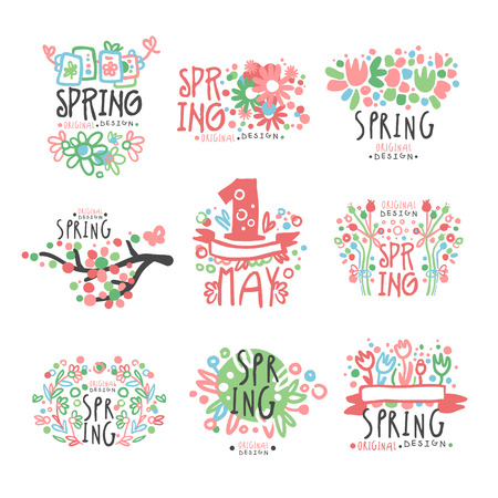 Spring, 1 May set original design. Spring holidays, First May, International labor day colorful hand drawn vector Illustrations