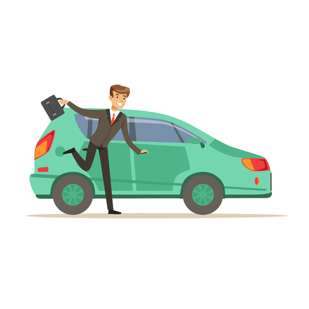 Hurrying man character running to his car, businessman is late vector Illustration