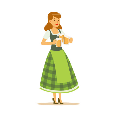 Pretty waitress in a green Bavarian traditional costume holding beer mugs, Oktoberfest beer festival vector Illustration