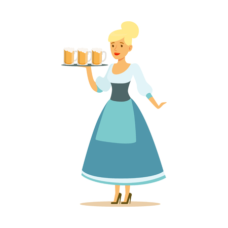 Pretty waitress in a blue Bavarian traditional costume holding beer mugs on a tray, Oktoberfest beer festival vector Illustration