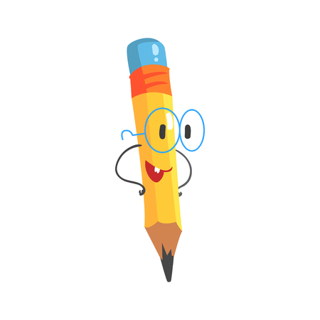 Smart cartoon yellow pencil character with hands on waist, humanized funny pencil vector Illustration