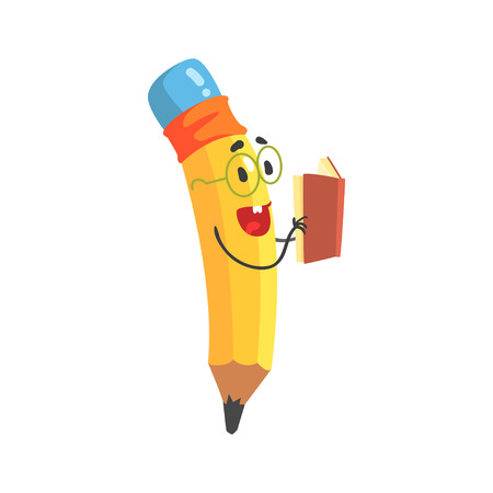 Cute cartoon yellow pencil character reading a book, humanized funny pencil vector Illustration