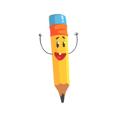 Cute happy cartoon yellow pencil character with hands up, humanized funny pencil vector Illustration